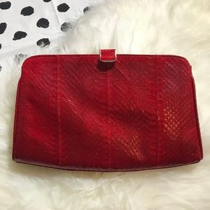 Lucalsax Vintage Red Snakeskin Clutch Purse Bag